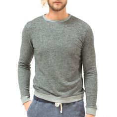 Unisex French Terry Crew Sweater - Charcoal