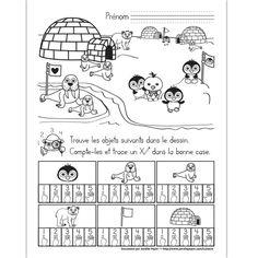 Fichier PDF téléchargeable En noir et blanc seulement 1 page  L'élève doit trouver et compter les objets dans le dessin. Il trace un X dans la bonne case. Kindergarten Science, Preschool Math, Math Activities, Science Projects For Kids, Math For Kids, Artic Animals, Animals For Kids, Ice Crafts, Polo Norte
