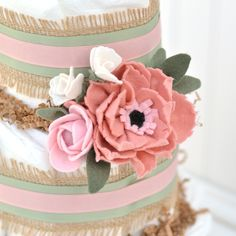 Floral Baby Shower Diaper Cake, Baby Girl Diaper Cake Oh Baby, Peony Baby Shower, Burlap Shabby Chic Decoration Diaper Cake Boy, Nappy Cakes, Unique Baby Girl Gifts, Baby Gifts, Girl Gift Baskets, Baby Bouquet, Baby Shower Diapers, Floral Baby Shower, Baby Shower Centerpieces