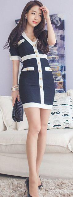 [Korean drama Kpop star fashion] Asian women fashion style Mild button Dress: