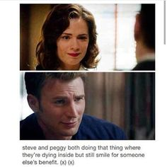 "Steve Rogers & Peggy Carter ""Steve & Peggy both doing that thing where they're dying inside but still smile for someone else's benefit. Peggy Carter, Marvel Memes, Marvel Dc Comics, Marvel Avengers, Loki, Thor, Hayley Atwell, And Peggy, Chris Evans Captain America"