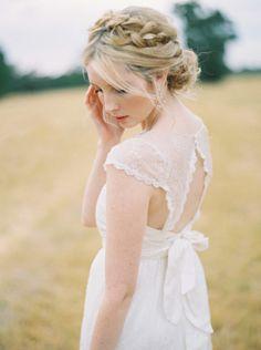 Crown braided updo: http://www.stylemepretty.com/australia-weddings/western-australia-au/perth/2015/03/19/intimate-perth-wheatfield-wedding/   Photography: Katie Grant - http://www.katiegrantphoto.com/