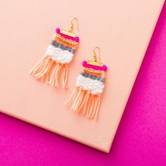 Accessorize your outfits, make a pair of colorful statement earrings for the spring with this Brit + Co DIY Kit weave a necklace hack, available exclusively at Target.  http://go.brit.co/2oVQyQv
