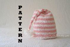 Pink Stripe Newborn Baby Girl Hat Knitting Pattern Baby Shower Gift Knitted Hat Infant Toddler Kids Children Clothing DIY PDF Pattern. $4.99, via Etsy.