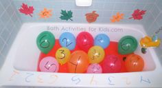 learning math ideas | Here is one early learning math activity from Bath Activities for Kids ...
