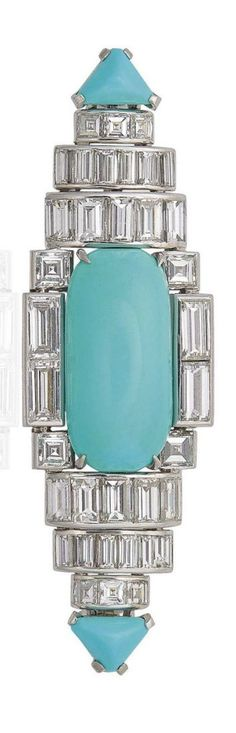CARTIER - AN ART DECO TURQUOISE AND DIAMOND BROOCH, 1930S. The oval cabochon turquoise within a baguette and square-cut diamond geometrical surround, to the triangular-cut turquoise terminals, 6.2 cm, mounted in platinum, signed Cartier London, numbered. #GemstoneBrooches