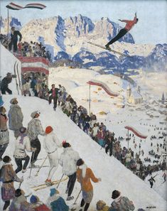 "Alfons Walde: ""Grubschanze bei Kitzbühel"" zeigt den Wettbewerb der Nordischen Kombination 1925. Vintage Ski, Vintage Travel Posters, Poster Vintage, Art Deco Paintings, Landscape Paintings, Landscapes, Figure Painting, Painting & Drawing, Sports Painting"