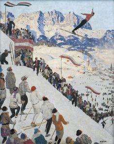 Vintage Ski, Vintage Travel Posters, Poster Vintage, Art Deco Paintings, Landscape Paintings, Landscapes, Figure Painting, Painting & Drawing, Sports Painting