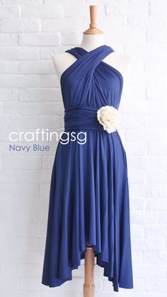Bridesmaid Dress Infinity Dress Navy Blue Knee by craftingsg, $35.00