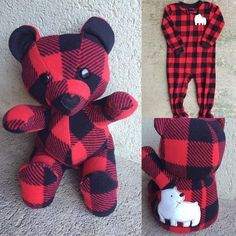 I'm in love with this buffalo plaid keepsake bear! www.nestlingkids.com/product/keepsake-memory-teddy-bear-upcycled-from-your-own-fabric-baby-clothes-outfit-baby-blanket (at Nestling Kids Keepsakes)