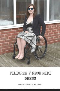 Filigree V Neck Midi Dress | Wheelchair Fashion | Looking for the ideal dress for a formal event? This filigree V neck midi dress is perfect! Find out how I style it here!
