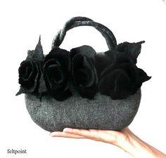 Felt bag Felted bag felted handbag Felt Bags Gray Bag