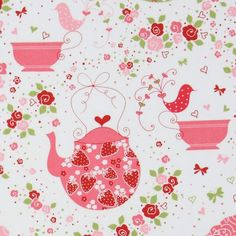 cute white Michael Miller fabric Strawberry Tea Party 2