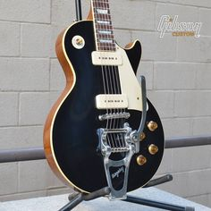 #Gibson Les Paul Ebony VOS with P-90s & Bigsby.
