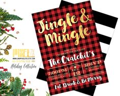 Jingle and Mingle, Christmas Party Invitation, Flannel Invite, Gold Foil, Holiday Party Invite, Buffalo Plaid Invitation, Red & Black, DIY by shopPIXELSTIX on Etsy
