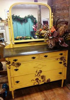 12 Repurposed Bedroom Furniture That You Can Diy Yellow Painted Furniture, Chalk Paint Furniture, Furniture Projects, Furniture Decor, Distressed Furniture, Funky Furniture, Furniture Arrangement, Office Furniture, Bedroom Furniture