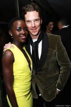 Lupita Nyong'o and Benedict Cumberbatch at the Pre-Golden Globes party.  Again with the velvet jacket. I want to touch it.