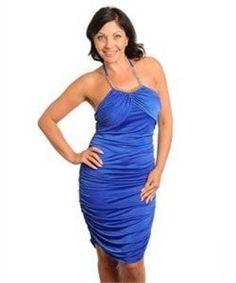 Jr Misses Plus Sz 3X Blue Cocktail Halter Style Ruched Dress NWOT #Sowulo #RuchedHalter #Cocktail