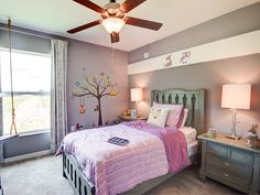 This cute kids is something right out of a storybook! Adding fun decals and details not only make this room super cute, but an immersive experience! Highland Homes' Parker model home in Lakeland, Florida. Home Bedroom, Girls Bedroom, Creative Kids Rooms, Lakeland Florida, Highland Homes, Coach House, Bedroom Pictures, Immersive Experience, Gray Paint