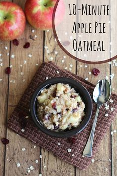 Loads of yummy apple pie flavor ... in a delicious, healthy oatmeal recipe! This Apple Pie Oatmeal is so quick and easy - a true family favorite! ~ www.TwoHealthyKitchens.com