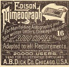 Edison Mimeograph #stencils duplicator machine 1889 ad +yum ink packaging @studio_sparrowh    via @uberbabygraphic