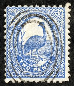 "New South Wales 1888 Scott 78 2p blue ""Emu"""