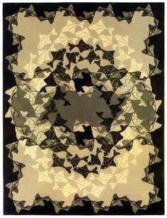 "M. C. Escher- ""Fish"" October 1941, woodcut in three colors."