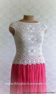 "Photo from album ""Крючок"" on Thread Crochet, Filet Crochet, Crochet Stitches, Crochet Patterns, Crochet Woman, Love Crochet, Knit Crochet, Black Crochet Dress, Crochet Shirt"