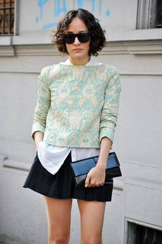 Milan Street Style 2014 - I love this shape for a top! Beautiful rich print top in unique color palette.  I would never do shorts that short.