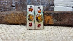 Enameled Earring Charms Retro & Rustic with Murrini and Wildflowers Handmade Jewelry Charm Component Jewelry Supplies