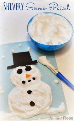 """zelf """"sneeuw"""" maken om mee te knutselen of om te gebruiken voor sensopatisch materiaal."""