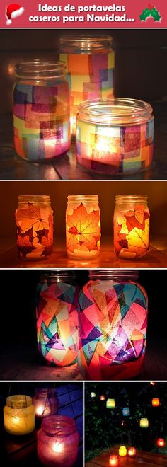Portavelas con frascos de vidrio Candle holder with glass jars. Crafts with glass jars. Diy Crafts Videos, Diy Crafts To Sell, Diy Crafts For Kids, Crafts With Glass Jars, Mason Jar Crafts, Diy Candles, Recycled Glass, Fall Crafts, Diy Room Decor