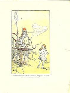 Antique 1907 Alice's Adventures in Wonderland Print Illustrated by W H Walker- Alice And The Caterpillar.