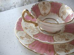 vintage English tea cup and saucer set, antique Royal Doulton bone china tea set trio, pink gold tea cup plate set