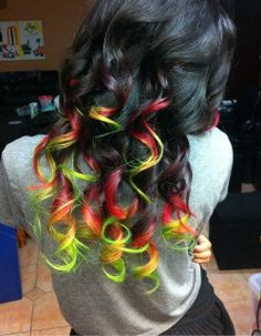colorful curls on dark hair