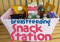 Assemble a breastfeeding snack station for a new mom to keep beside her rocking chair to have drinks and snacks at hand while feeding the baby. Great gift for new mamas!