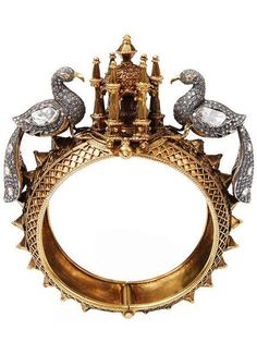 Magical Peacock Temple Bracelet, 18k Yellow Gold and Diamonds SEVAN