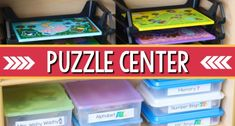 Task Shakti - A Earn Get Problem How To Set Up And Organize A Puzzle Center In Your Preschool, Pre-K, Or Kindergarten Classroom. Puzzle Center Organization And Storage Tips For Teachers. Art Center Preschool, Preschool Classroom Setup, Writing Center Kindergarten, Kindergarten Library, Preschool Puzzles, Preschool Science, Preschool Alphabet, Preschool Ideas, Classroom Ideas