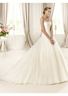 Tulle and lace sheer top princess wedding dress