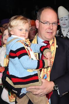 Prince Jacques of Monaco and his father Prince Albert II of Monaco attend the 42nd International Circus festival in Monte Carlo on January 21, 2018 in Monaco, Monaco.