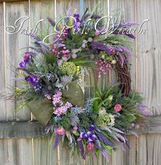 MADE To ORDER Scottish Thistle & Heather lavender Coastal Wreath, Highland Scotland Wildflower Wreath Summer Door Wreaths, Christmas Door Wreaths, Easter Wreaths, Holiday Wreaths, Spring Wreaths, Christmas Mantels, Purple Wreath, Lavender Wreath, Floral Wreath