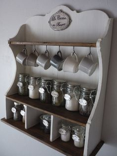 Tea station or country french style spice rack Wood Pallet Furniture, Small Furniture, Home Decor Furniture, Kitchen Furniture, Diy Home Decor, Kitchen Decor, Kitchen Sink Storage, Kitchen Shelves, Wood Spice Rack