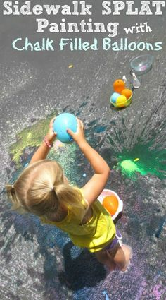 Sidewalk SPLAT Painting with Chalk filled Balloons- a super fun way to create art this Summer! {Toss the balloons and watch them POP to create awesome art}