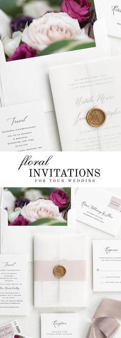 The Natalie wedding invitation suite is paired with Anastasia florals. Anastasia features baroness garden roses, white and purple lisianthus, and italian ruscus.