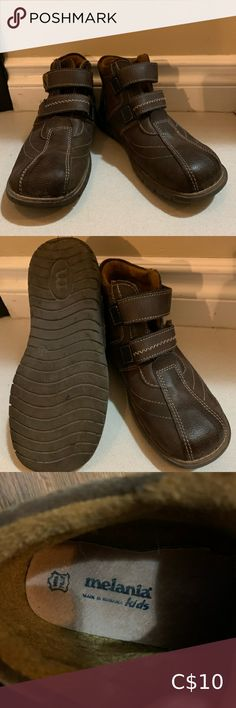 Brown leather Velcro boots with contrast stitching DESCRIPTION Brown leather boots with easy double Velcro closure. Contrast stitching and soft lining.   SIZE: 32 (1.5 youth)  CONDITION: Comes from SMOKE-FREE, CAT-FRIENDLY home 8/10: Excellent condition. Melania Kids Shoes Boots