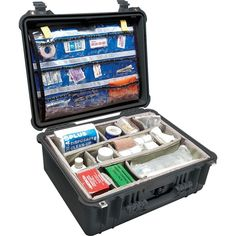 Pelican 20.62 in. Medical Case with Lid Organizer/Dividers, Black