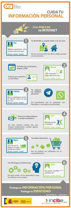 Infografía sobre cómo cuidar la información personal. Facilita una serie de recomendaciones sobre qué cosas no se deberían publicar en las redes sociales para evitar riesgos y cuidar así la privacidad.