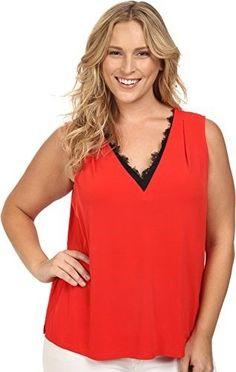 c8e73b4eef6c8 Calvin Klein Plus Women s Plus Size Sleeveless Top w  Lace Trim Tango Red  Blouse 2X (US 20W)