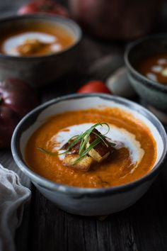 A simple tasty recipe for Roasted Tomato Soup with Haloumi Croutons, Yogurt and Sumac, velvety and delicious!   www.feastingathome.com