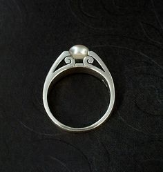 MODERNIST Vintage Sterling Silver PEARL Ring Scroll by YearsAfter
